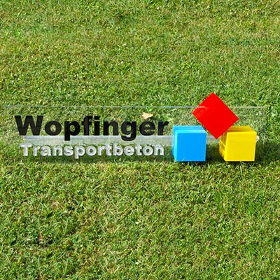 Eremit Display Schild Wopfinger Transportbeton